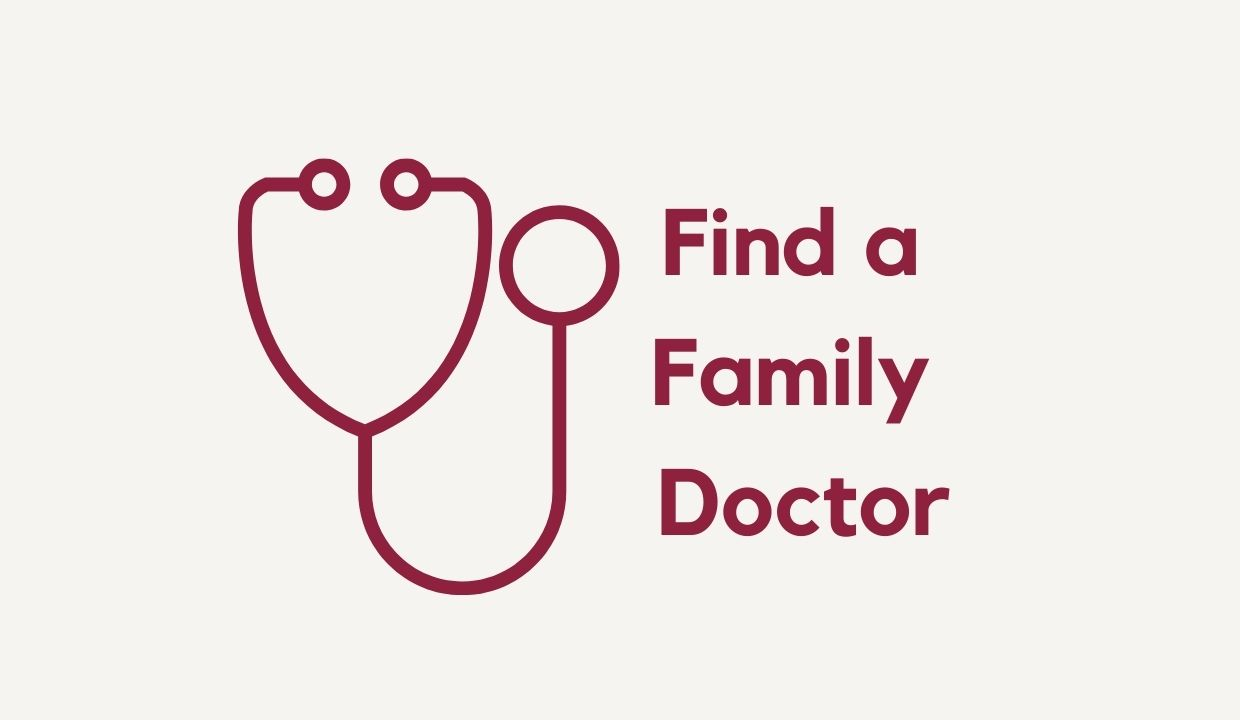 "stethoscope with text ""Find a Family Doctor"""